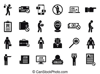 Jobless icons set, simple style
