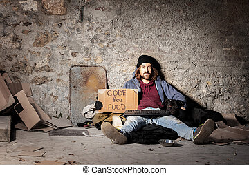 Jobless man with dog sitting on the city sidewalk