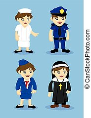 Jobs and Occupation Woman Uniform Vector Icon