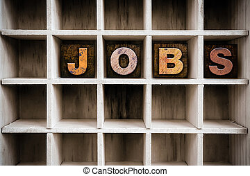 Jobs Concept Wooden Letterpress Type in Draw