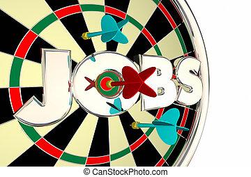 Jobs Hiring Find Seek Career Opportunity Dart Board 3d Illustration