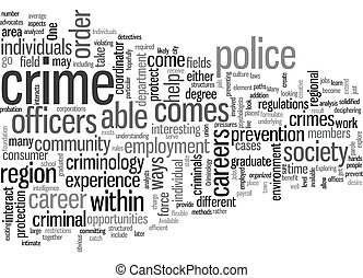 Jobs in Criminology text background wordcloud concept
