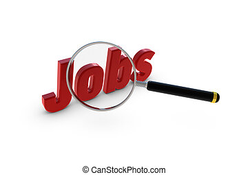 Jobs letter written in red with a magnifier