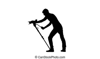 Jobs of videographer in the studio. White background. Silhouette