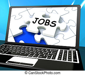 Jobs On Laptop Shows Online Application Or Hiring - Jobs On...