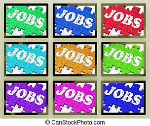 Jobs On Monitors Shows Working Opportunities