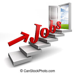 jobs red word and arrow on stair up to open conceptual door...