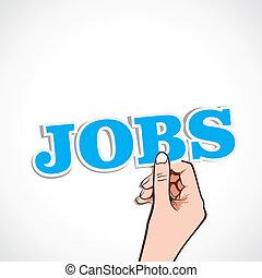jobs word in hand