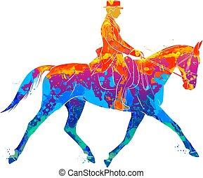 jockey, équestre, dressage, résumé, uniforme, éclaboussure, watercolors., équitation, sport, horse.