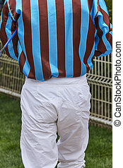 Jockey detail after the race. Hippodrome background. Racehorse.