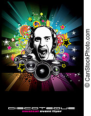 jockey, discoteque, vorm, muziek, achtergrond, flyers,...