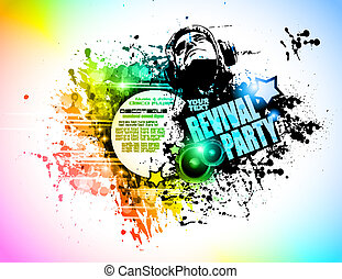 jockey, elements., coloré, club, affiche, résumé, disck, forme, disco, arrière-plan., idéal, aviateur, conception, lot, musique