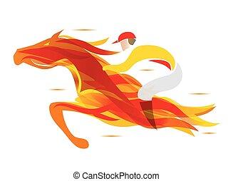 jockey., fiery, 馬