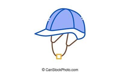 Jockey Helmet Icon Animation. color Jockey Helmet animated icon on white background