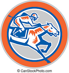 Jockey Horse Racing Circle Woodcut Retro - Illustration of...