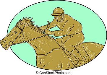 Jockey Horse Racing Oval Drawing - Drawing sketch style...