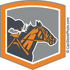 Jockey Horse Racing Shield Retro - Illustration of horse and...