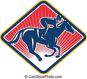 Jockey Horse Racing Side Retro - Illustration of an...