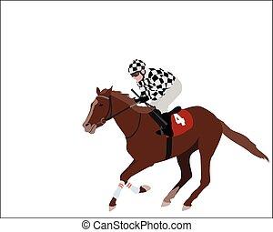 jockey illustration - jockey riding race horse illustration...