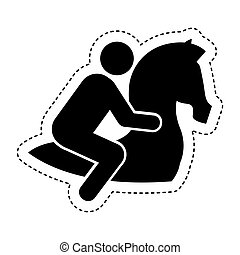 jockey in horse silhouette
