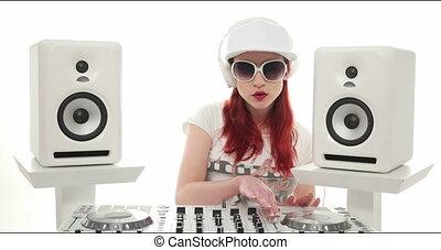 jockey, mélange, disque, femme, musique