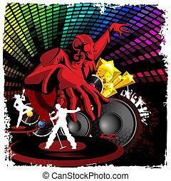 jockey, muziek, spelend, disco