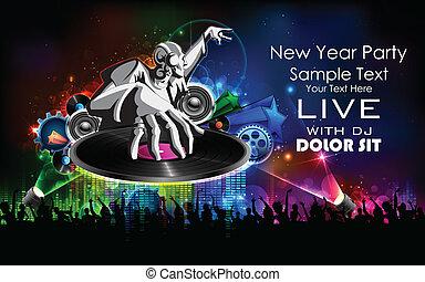 jockey, nieuw, disco muziek, jaar, feestje, spelend