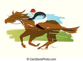 Jockey on horse, Horse racing.