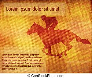 jockey on racing horse over abstract background with space for text