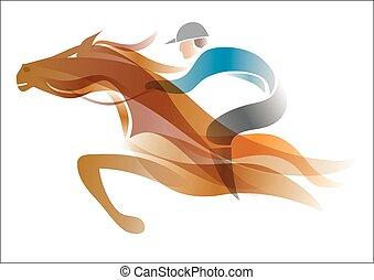Jockey on the horse.