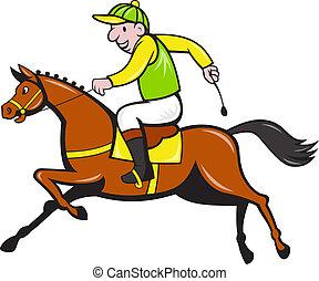 jockey, rennsport, pferd, seite, karikatur