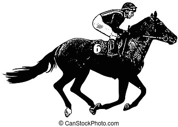 jockey riding galloping race horse sketch illustration