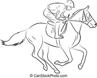 jockey riding horse line art illustration