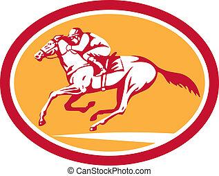 Jockey Riding Horse Racing Circle Retro - Illustration of...