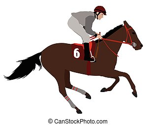 jockey riding race horse