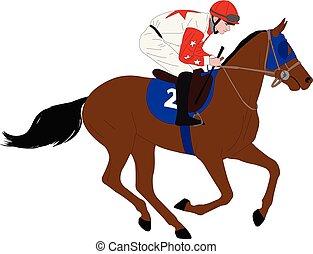 jockey riding race horse illustration 7