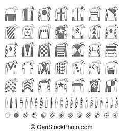 Jockey uniform. Traditional design. Jackets, silks, sleeves and hats. Horse riding. Horse racing. Icons set. Isolated on white. Vector illustration.