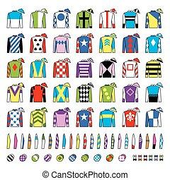 Jockey uniform. Traditional design. Jackets, silks, sleeves...