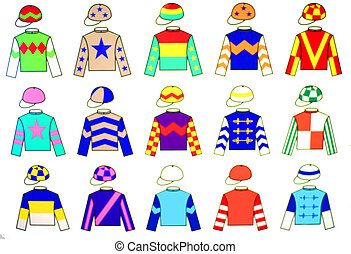 Jockey uniform designs. 15 fine and colorful drawings of various original Jockey Uniform