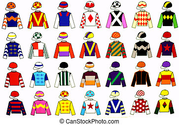 Jockey uniform designs. 28 fine and colorful drawings of various original Jockey Uniform.