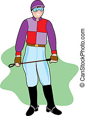 Young male jockey with crop on green background
