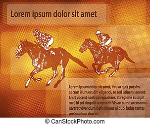 jockeys on racing horses over abstract background with space for text