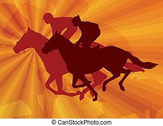 jockeys riding horses on the abstract background - vector
