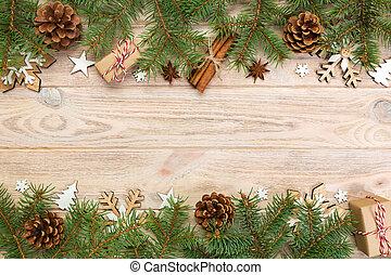 jodła, boks, dar, przestrzeń, drewniany szczyt, drzewo, boże narodzenie, projektować, tło, kopia, stół., twój, prospekt