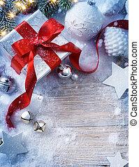 jodła, boks, sztuka, dar, drzewo, śnieg, tło, boże narodzenie