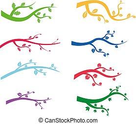 jodła, cherry., drzewa., gałęzie, ilustracja, tło., kolor, wektor, sosna, sylwetka, biały, rysunek