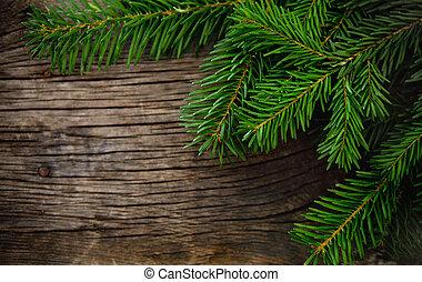 jodła, drewniany, drzewo, boże narodzenie, tło