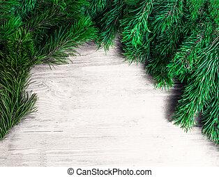 jodła, gałęzie, kopiować przestrzeń, prospekt., wallpaper., drewniany, pieśń, ułożyć, biała choinka, górny, płaski, tło.