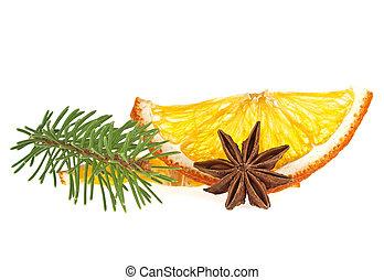 jodła, gwiazda, kromki, anyż, drzewo, pomarańcza, zasuszony, tło, biały