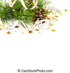 jodła, gwiazdy, złoty, stożki, chorągwie, sosna, odizolowany, tło, gałąź, białe boże narodzenie